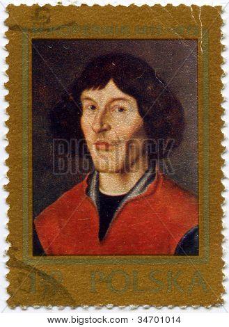 POLAND - CIRCA 1973 : Stamp printed in Poland, showing Nicolaus Copernicus, Polish and Prussian astronomer, mathematician, economist, canon of the Renaissance, circa 1973