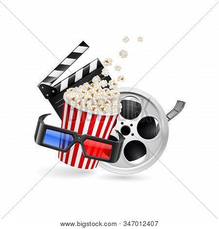 Movie Clapper Board, Cinema Ticket, Popcorn In The Striped Bag, Film Reel And 3d Glasses Over White