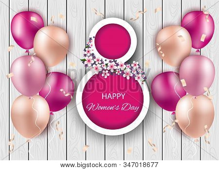 8 march holiday, womans day, women's day background holiday, women's day banners, women's day flyer holiday, women's day design, womens day with flowers on wooden background, vector illustration. 3d background Women's day