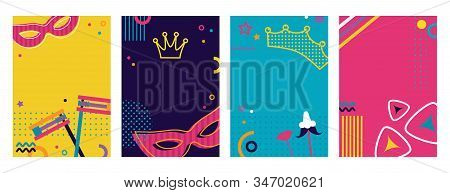Greeting Card Set For Jewish Holiday Purim. Purim In Hebrew. Jewish Carnaval Funfair Card With Mask