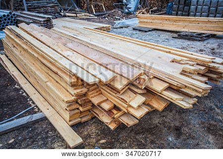 Wooden Planks. Beams. Air-drying Timber Stack. Wood Air Drying (seasoning Lumber Or Wood Seasoning).