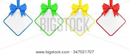 Set Of Multicoloured Blank Rectangular Sale Tag With Ribbon And Bow On A White Background. 3d Render