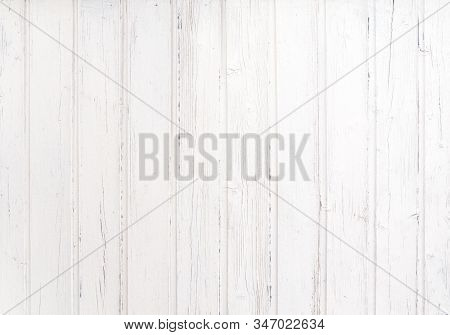Vintage White Wood Plank Texture Background.  Old Weathered Wooden Plank Painted In White Color. Har