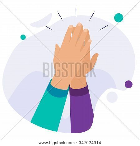 High Five Concept For Success, Teamwork. Hands In A Gesture Of Success. Two Hands Giving High Five F