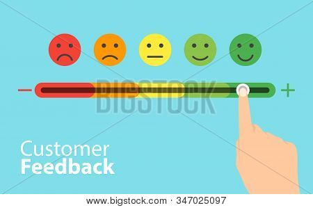 Feedback Concept Design. Feedback Emoticon Flat Design Icon Set. Vector Set Of Emoticons. Rank, Leve