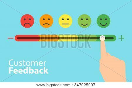 Feedback Concept Design. Feedback Emoticon Flat Design Icon Set. Vector Set Of Emoticons. Rank, Leve