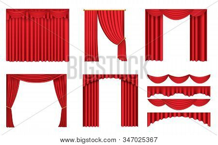 Luxury Scarlet Red Silk Velvet Curtains And Draperies Interior Decoration Design. Set Of Realistic L