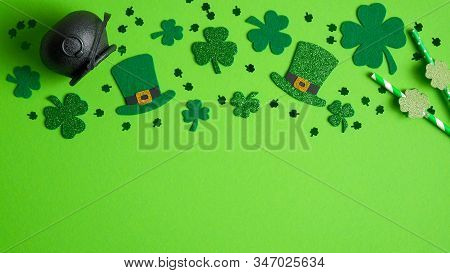 St Patricks Day Frame Top Border Of Shamrock And Four-leaf Clover, Irish Elf Hats, Pot Of Gold, Part