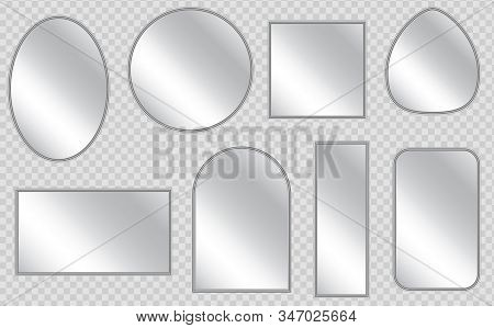 Vector Realistic Mirrors Set With Blurry Reflection. Realistic Empty Mirrors With Reflect In Mockup