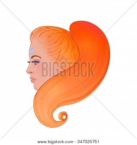 Profile Portrait Of Redhead Caucasian Girl With Long Red Hair Isolated On White Background . Beautif