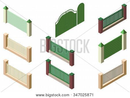 Fence Enclosure, Gate And Wicket Set 3d Isometric Elements Isolated On White. Vector Cartoon Illustr