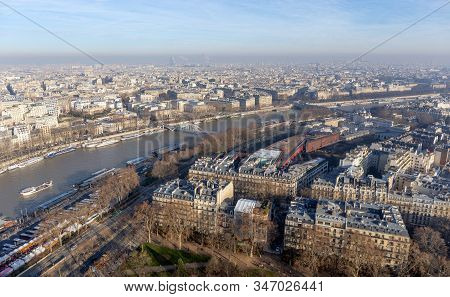 Panoramic View Of Paris From Eiffel Tower, France.