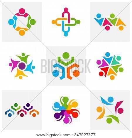 Set Of Community Logo Design Inspiration Vector Template, Social Relationship Logo And Icon, Adoptio