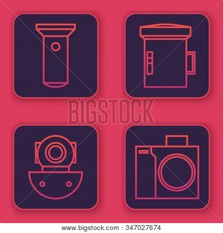 Set Line Flashlight, Aqualung, Big Flashlight For Diver And Photo Camera For Diver. Blue Square Butt