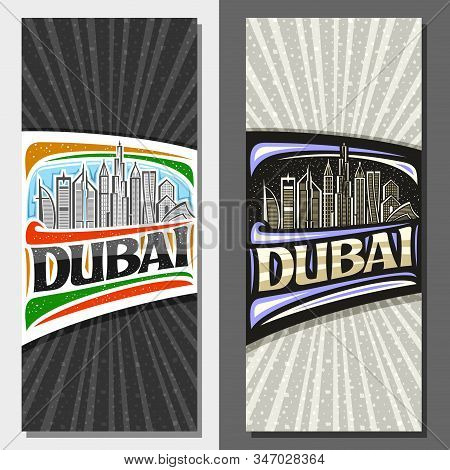 Vector Vertical Layouts For Dubai With Copy Space, Decorative Leaflet With Line Illustration Of Mode