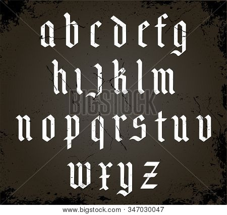 White Gothic Alphabet On A Black Background. Cracked Vintage Texture. Vintage Font. Typography For L