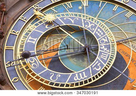 Prague, Czech Republic - May 01, 2017 : Prague Astronomical Clock Orloj On Old Town Hall. It Is A Me