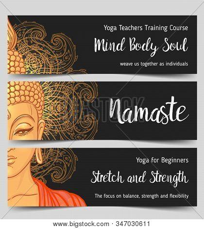 Yoga Business Card Design In Gold An Black. Template For Spiritual Retreat Or Yoga Studio. Ornamenta