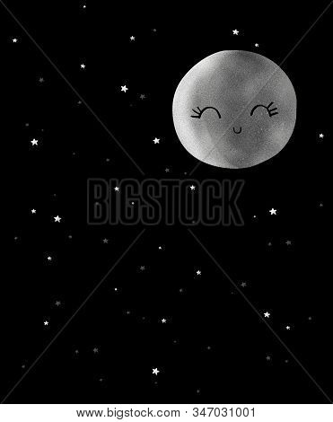 Cute Night Sky With Twinkle Stars And Gray Smiling Full Moon. Lovely Nursery Art With Starry Sky.fun