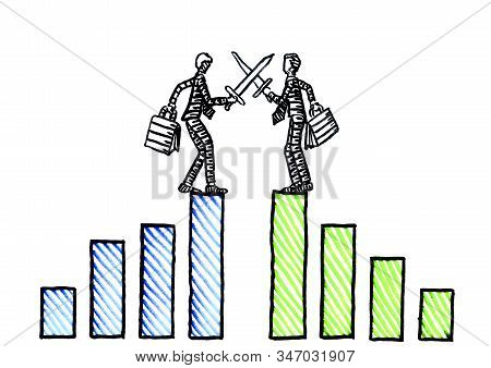 Freehand Drawing Of Two Business Men At Hight Of Their Financial Success Fighting Each Other With Sw