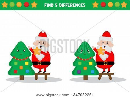 Educational Worksheet For Kids. Find Differences. Santa Claus Decorating Christmas Tree