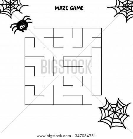Halloween Maze Game. Spider And His Web. Worksheet For Kids. Maze For Kids.