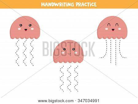 Cute Kawaii Jellyfish. Handwriting Practice For Children. Educational Worksheet For Kids. Games For