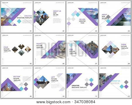 Minimal Brochure Templates With Colorful Cubes, Trendy Geometric Abstract Background. Covers Design