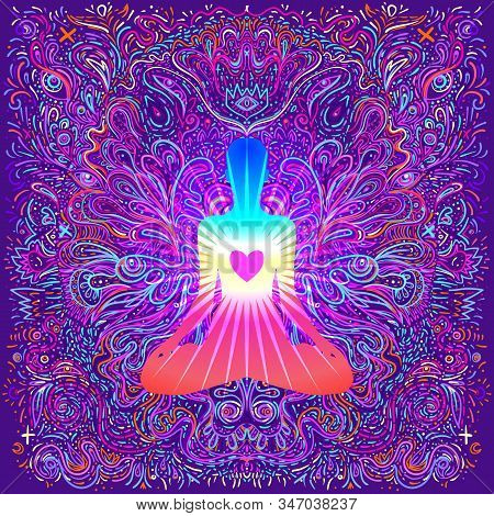 Chakra Concept. Inner Love, Light And Peace. Silhouette In Lotus Position Over Ornate Mandala. Vecto