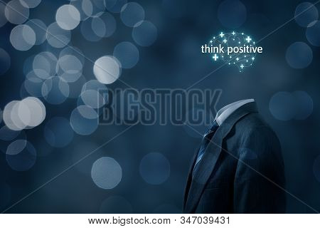Coach Motivate To Think Positive Concept. Businessman, Plus Signs In Shape Of Brain And Text Think P