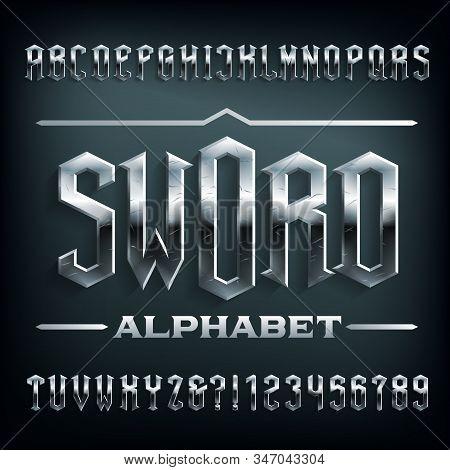 Sword Alphabet Font. Scratched Metal Medieval Letters. Stock Vector Typescript For Your Design.