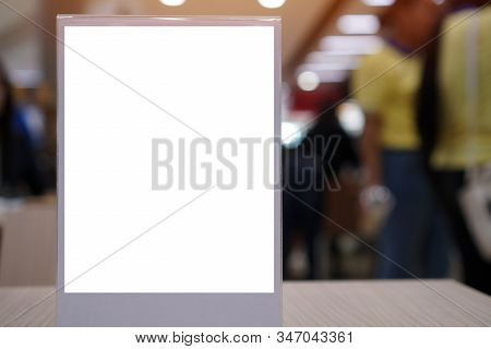 Blank Mock Up Or Label Menu Frame Advertising In Restaurant, Stand For Booklets White Paper Sheets A