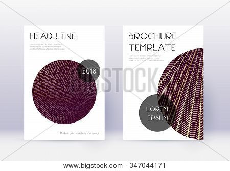 Trendy Cover Design Template Set. Gold Abstract Lines On Maroon Background. Flawless Cover Design. S