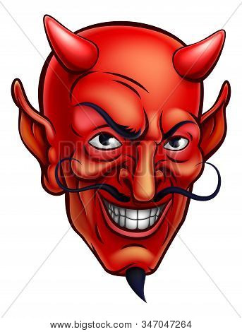 Cartoon Red Devil Satan Or Lucifer Demon Face With Horns And A Goatee Beard