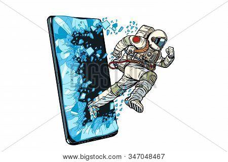 Scientific Online Applications Concept. Astronaut Runs Through A Smartphone. Online Internet Applica
