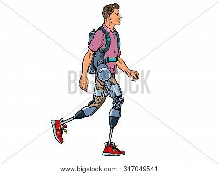 Exoskeleton For The Disabled. A Man Legless Veteran Walks. Rehabilitation Treatment Recovery. Scienc