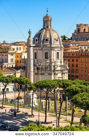 Rome In Summer, Italy. Nice Scenic View Of Ancient Roman Trajan's Column In The Rome City Center. Be