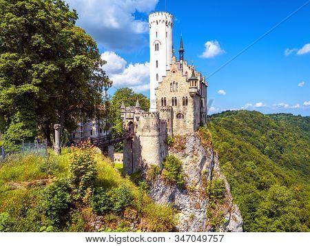 Lichtenstein Castle In Summer, Baden-wurttemberg, Germany. This Famous Castle Is A Landmark Of Germa