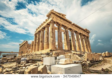 Parthenon On Acropolis, Athens, Greece. It Is Top Landmark Of Athens. Famous Temple In Athens City C