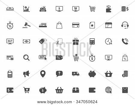 E-commerce Vector Icons Large Set Isolated On White Background. Business Commerce Comcept. E Commerc
