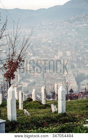 Panoramic Aerial View Of Sarajevo, Capital City Of Bosnia And Herzegovina, Seen From The Cemetary Ma