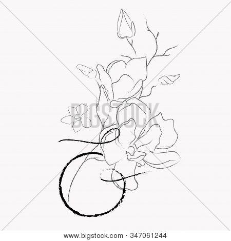 Handwritten Floral Logo Template. Line Drawing Monogram Ampersand With Magnolia Flower, Plants, Bran
