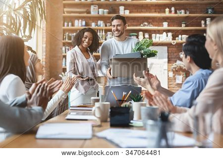 Friendly Young Multiracial Team Welcoming Guy New Employee, Female Manager Introducing Hired Worker