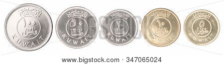 Complete Set Of Kuwait Coins In A Row Isolated On White Background.