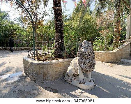 Deir Hajla, Israel - January 11, 2020: Sculpture Of A Lion At The Entrance To The Orthodoxy Monaster