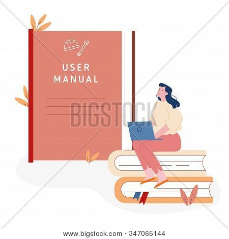 Users Manual Brochure, Faq Concept. Woman Sitting On Pile Of Books With Laptop Near Huge User Manual
