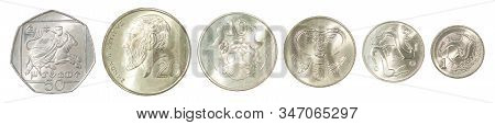 Complete Set Of Cypriot Coins In A Row Isolated On White Background