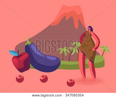 Cave Woman In Animal Skin Stand Near Fruit And Vegetable On Volcano Background. Paleo Diet Concept.