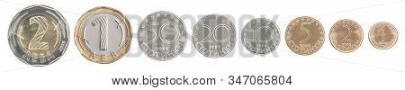 Complete Set Of Bulgarian Coins In A Row Isolated On White Background.