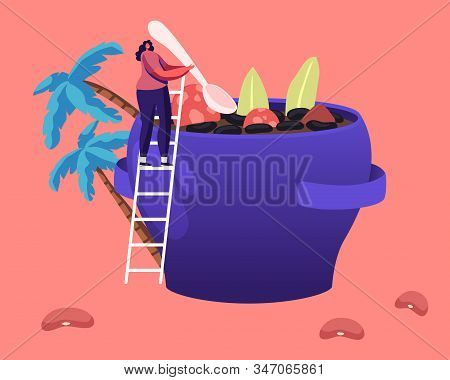 Brazil Food Concept. Tiny Female Character Stand On Ladder Cooking Traditional Delicious Feijoada Me